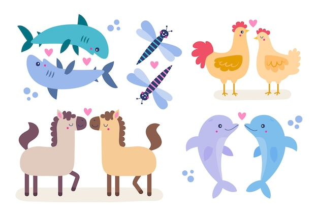 Cute valentines day animal couple theme