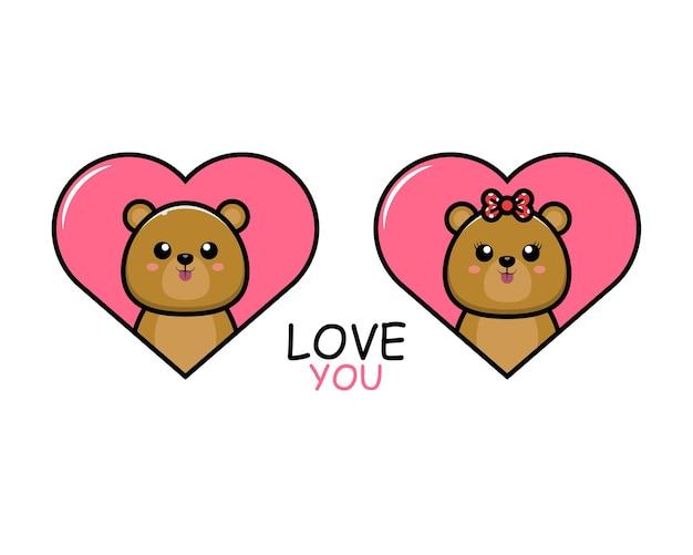 Милая пара животных на день святого валентина с медведем