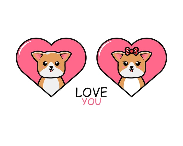 Милая пара животных на день святого валентина с собакой