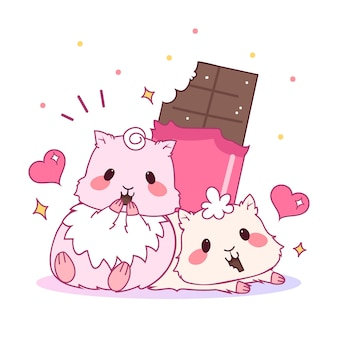 Cute valentines day animal couple with hamsters