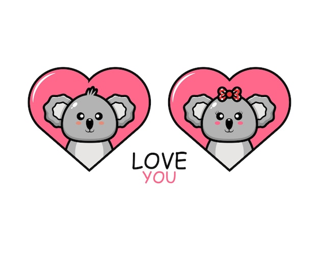 Милая пара животных на день святого валентина с коалой