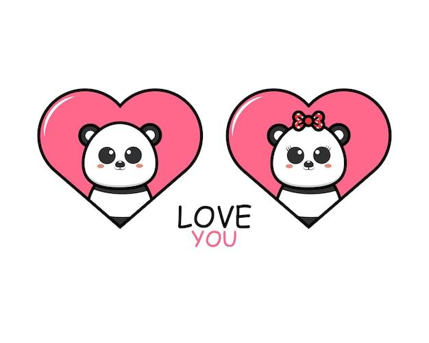 Милая пара животных на день святого валентина с пандой