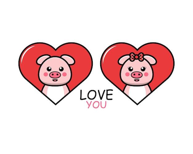 Милая пара животных на день святого валентина со свиньей