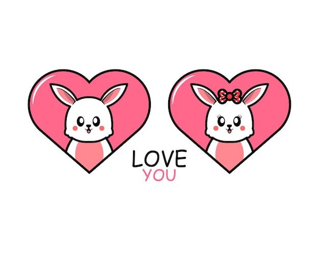 Милая пара животных на день святого валентина с кроликом