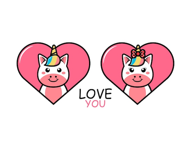 Cute valentines day animal couple with unicorn