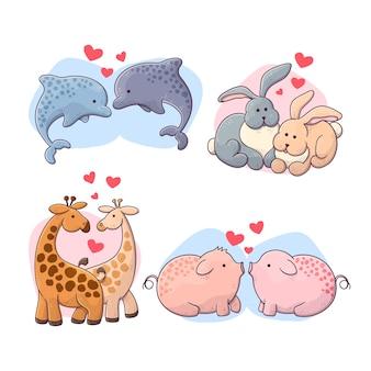 귀여운 발렌타인 동물 커플