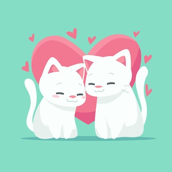 Милая пара животных на день святого валентина