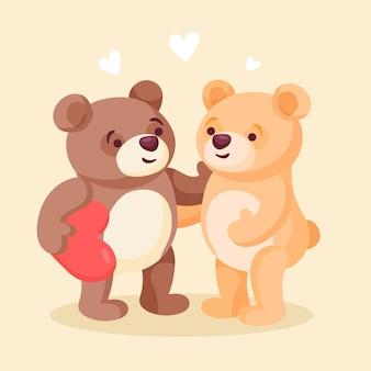 귀여운 발렌타인 데이 동물 커플
