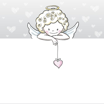 Cute valentines day card with sketch cupid