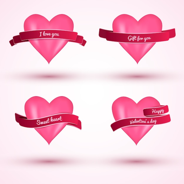 Cute valentines day flat love cards with pink hears and ribbons isolated vector illustration