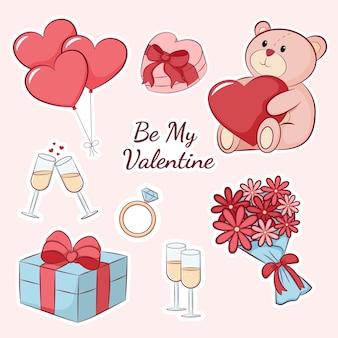 かわいいバレンタインデーギフトステッカーコレクション