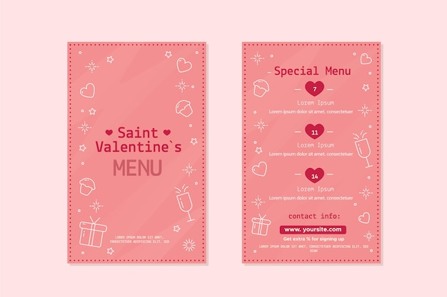 Cute valentines day menu template