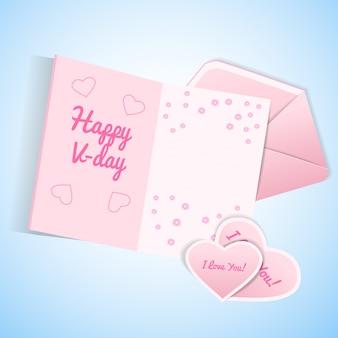 Il giorno di san valentino carino ha impostato con la carta della busta rosa e bianca con il desiderio e i biglietti di s. valentino con l'illustrazione di confessione di amore