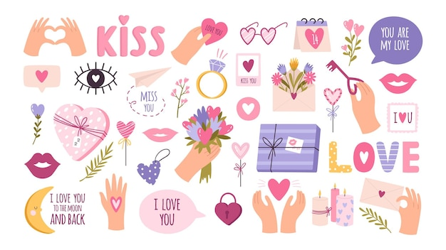 Cute valentines day stickers for planner, love letter or diary. cartoon wedding journal decoration, hand and heart. romantic kiss vector set
