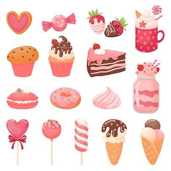 かわいいバレンタインのお菓子。ハートロリポップ、甘いアイスクリーム、ストロベリーケーキ。