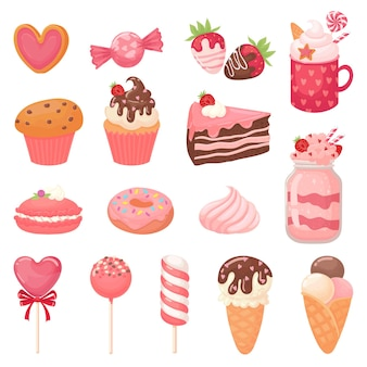 Cute valentines sweets. heart lollipop, sweet ice cream and strawberry cake.