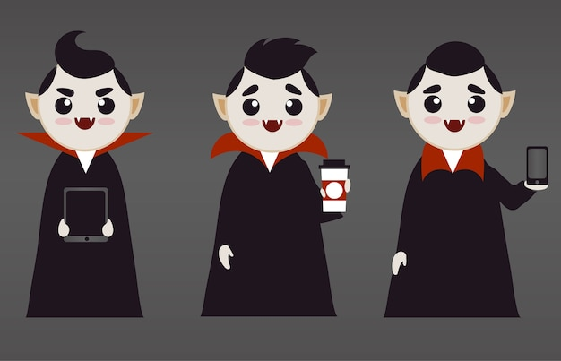 Cute vampire boys with tech and coffee
