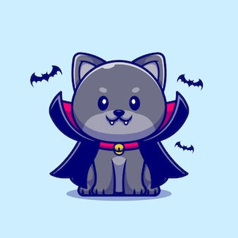 Cute vampire cat cartoon illustration.