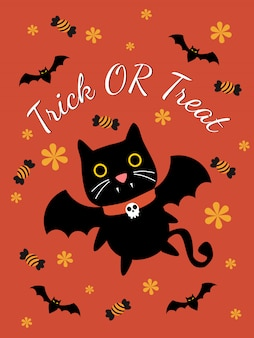 Cute vampire cat for halloween greeting card.
