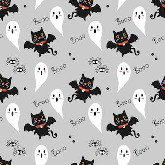 Cute vampire cat seamless pattern