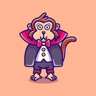 귀여운 뱀파이어 원숭이 만화 일러스트 레이션