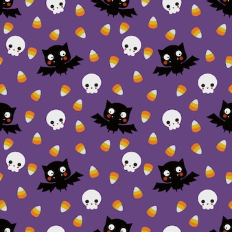 Cute vampire and skull  seamless pattern