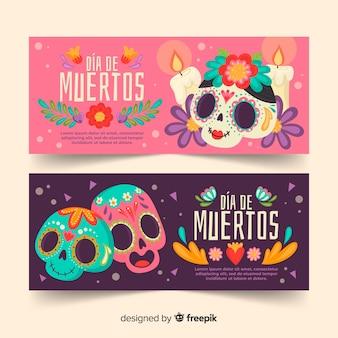 Cute variety of día de muertos banners