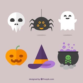 Cute variety of flat halloween elements
