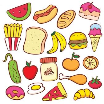 Cute various food doodle cartoon