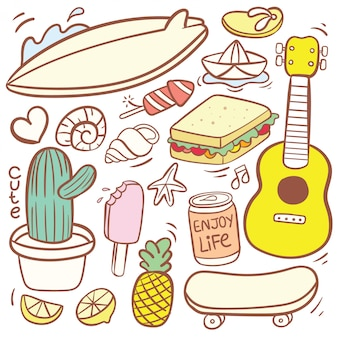 Cute various food doodle cartoon