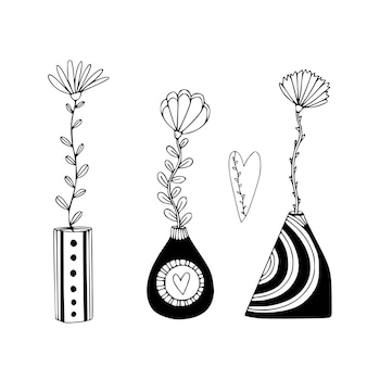 Cute vases with flowers. floral interior print in hand drawn style