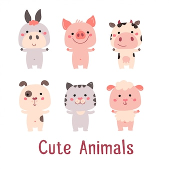 Cute vector animals: pig, cat, dog, sheep, cow, donkey