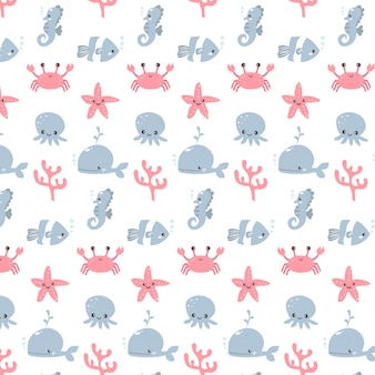 Cute vector of aquarium animals pattern cartoon design for girl and boy