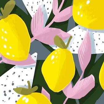 花とフルーツのデザインとかわいいベクトルカード。レモンと葉。抽象的なデザイン。