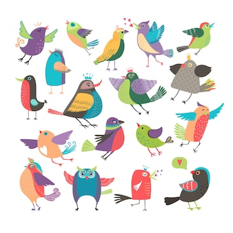 Cute vector cartoon birds set
