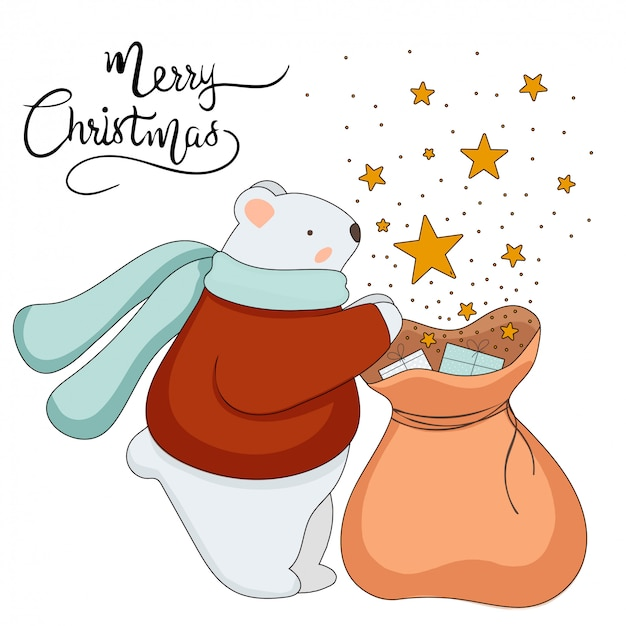 Cute vector  christmas bear wearing scarf. white bear with presents and stars. christmas and new year concept