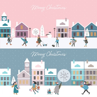 Cute vector christmas cities with noisy people and winter houses