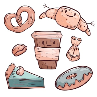 Cute vector doodle illustration. isolated objects on a white background. coffee in a plastic cup and pastries, donut, croissant, pretzel, slice of cake and candy. design elements