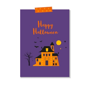Cute vector halloween card with  castle, bat, tree, spider. elements, objects for holiday card, invitation and party design.