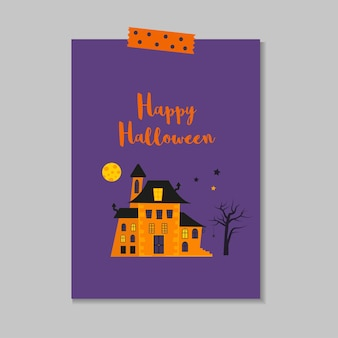 Cute vector halloween card with castle, spider, bat. elements, objects for holiday card, invitation and party design.