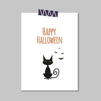 Cute vector halloween card with  cat, ghost,  bat. elements, objects for holiday card, invitation and party design.