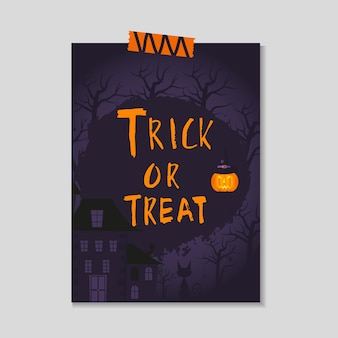 Cute vector halloween card with dark  pumpkin,  castle, cat, ghost, bat. elements, objects for holiday card, invitation and party design.