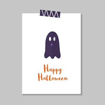 Cute vector halloween card with ghost. elements, objects for holiday card, invitation and party design.
