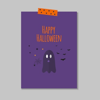 Cute vector halloween card with  ghost, spider, bat. elements, objects for holiday card, invitation and party design.