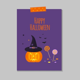Cute vector halloween card with pumpkin, candy, bat, hat. elements, objects for holiday card, invitation and party design.