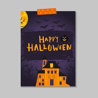 Cute vector halloween card with pumpkin,  castle, cat, ghost, bat. elements, objects for holiday card, invitation and party design.
