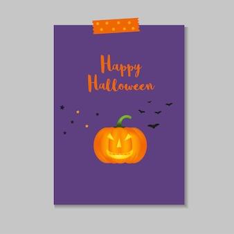 Cute vector halloween card with pumpkin, stars, bat. elements, objects for holiday card, invitation and party design.