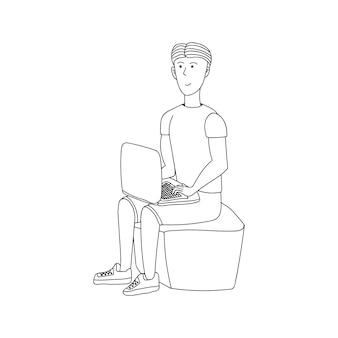 귀여운 벡터 손으로 그린 낙서, 노트북을 가진 남자. 집에 머물고 집에서 일하십시오. 프리랜서. 온라인으로 공부했습니다. 격리 긍정적인 낙서 사람들. 흰색 배경에 고립.