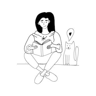 귀여운 벡터 손으로 그린 낙서, 책과 고양이를 가진 여자. 집에 머물고 집에서 일하십시오. 프리랜서. 온라인으로 공부했습니다. 격리 긍정적인 낙서 사람들. 흰색 배경에 고립.