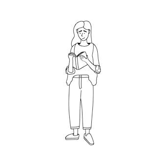 귀여운 벡터 손으로 그린 낙서, 책을 가진 여자. 집에 머물고 집에서 일하십시오. 프리랜서. 온라인으로 공부했습니다. 격리 긍정적인 낙서 사람들. 흰색 배경에 고립.
